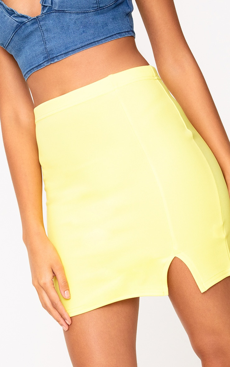 Yellow Side Split Mini Skirt  6