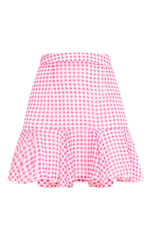 Zahara Pink Chiffon Floaty Hem Gingham Mini Skirt  3