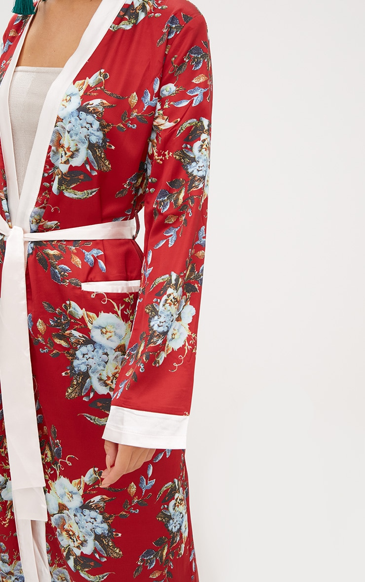 Red Floral Satin Duster Jacket  6