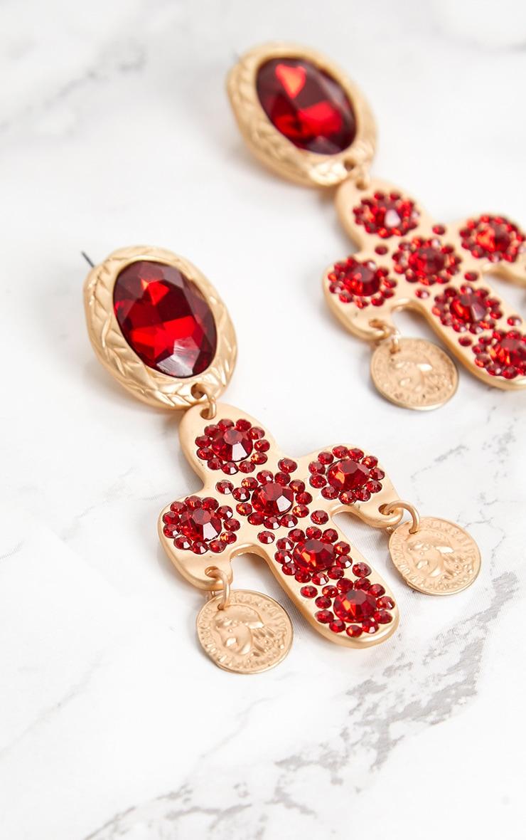 Red Diamante Large Cross Earrings 5