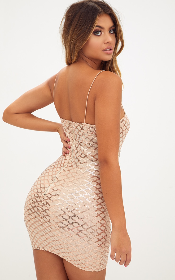 Rose Gold Strappy Sequin Straight Neck Bodycon Dress 2