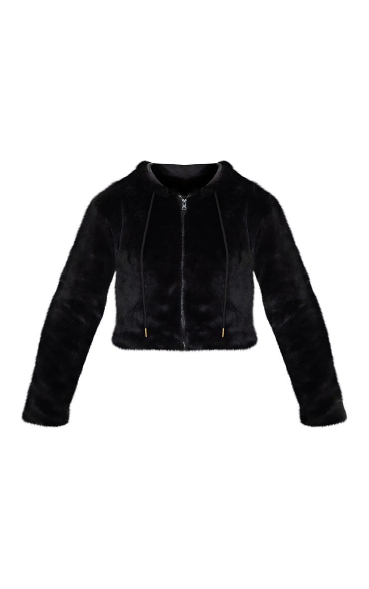 Black Faux Fur Cropped Hooded Jacket 3