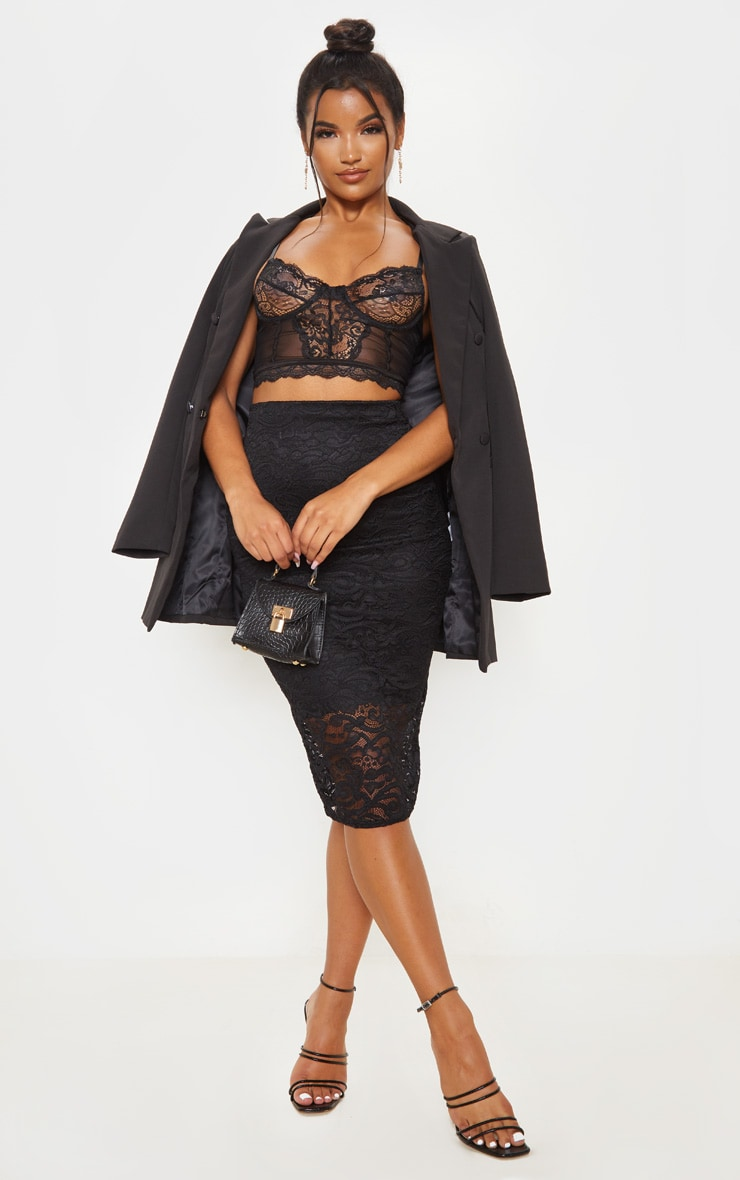 Black Lace Panelled Midi Skirt by Prettylittlething