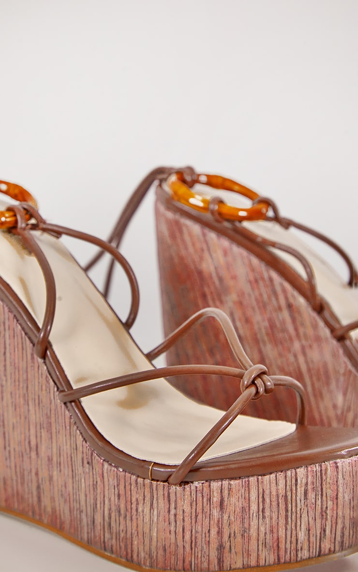 Brown Lace Up Wood Effect Wedge 3