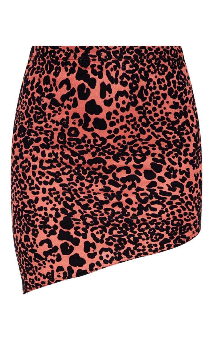 Burnt Orange Velvet Leopard Print Asymmetric Mini Skirt 3