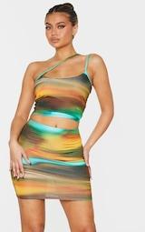 Green Abstract Print Slinky Asymmetric Strap Detail Crop Top 1