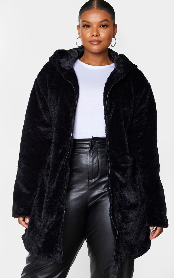 Plus Black Hooded Faux Fur Midi Coat 1