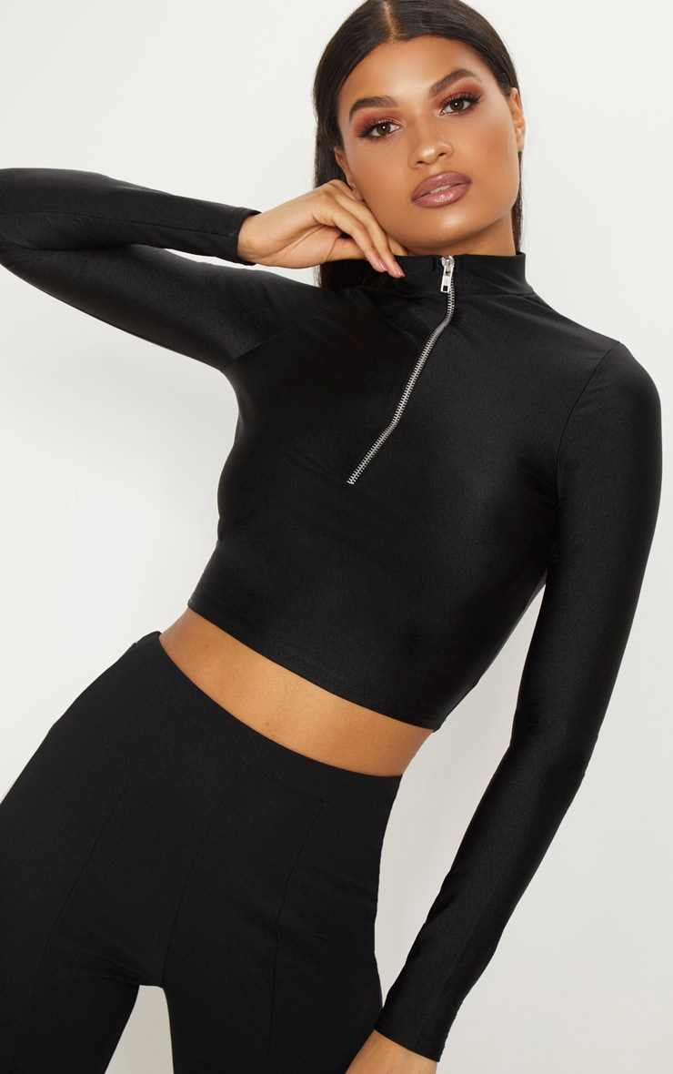 Black Disco Zip Front High Neck Long Sleeve Crop Top   1