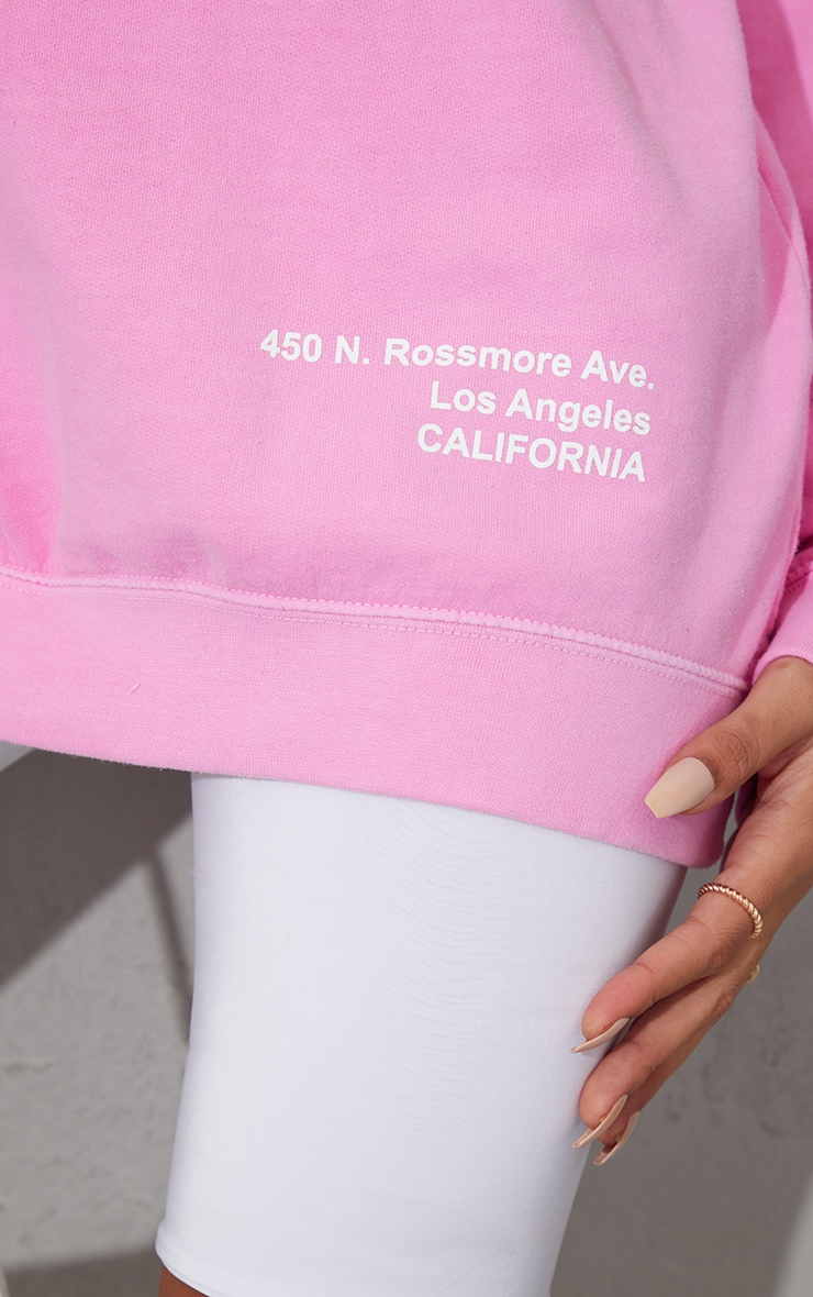 Pink Los Angeles Small Print Slogan Washed Sweatshirt 4