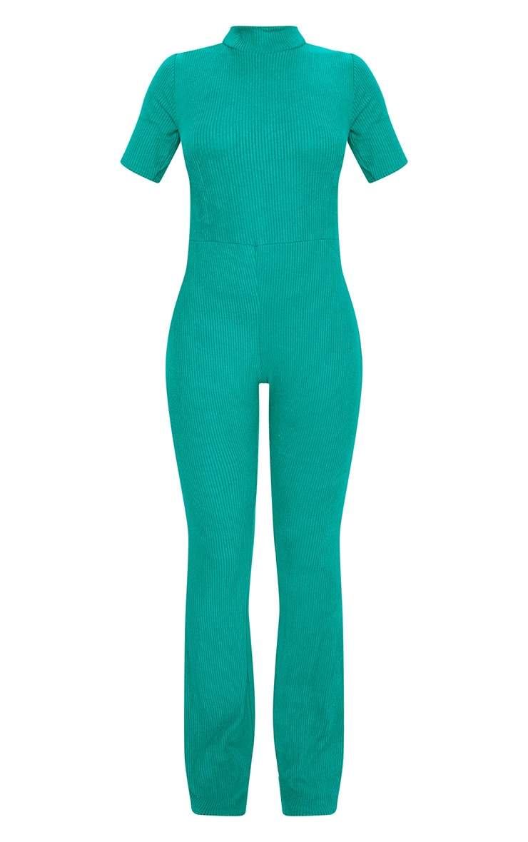 Emerald Green Brushed Rib High Neck Flared Jumpsuit 5