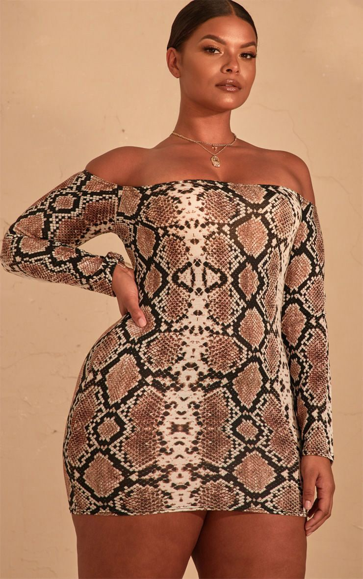 Plus Brown Snake Print Bardot Bodycon Dress