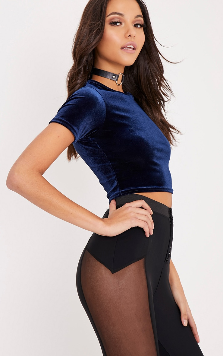 Priya Navy Cropped Velvet Shortsleeve Top 4