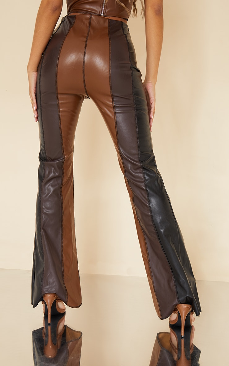 Chocolate Brown Faux Leather Panelled Skinny Flared Trousers 3