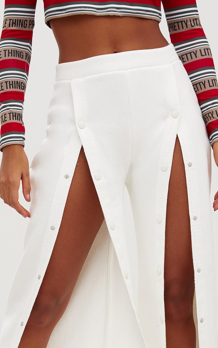 Cream Front Popper Wide Leg Joggers 5