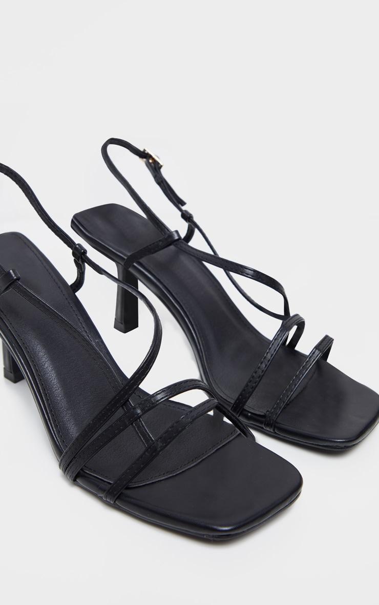 Black Low Heel Strappy Sandal 3