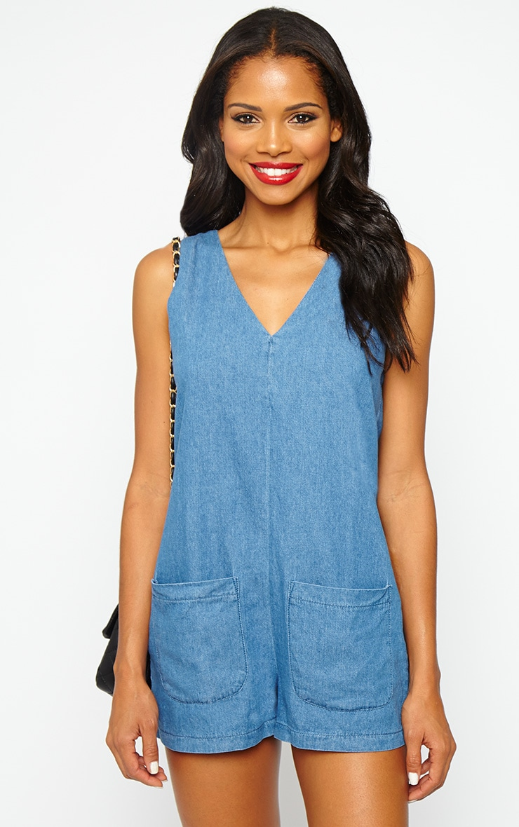 Dollie Blue Denim Plunge Playsuit 1