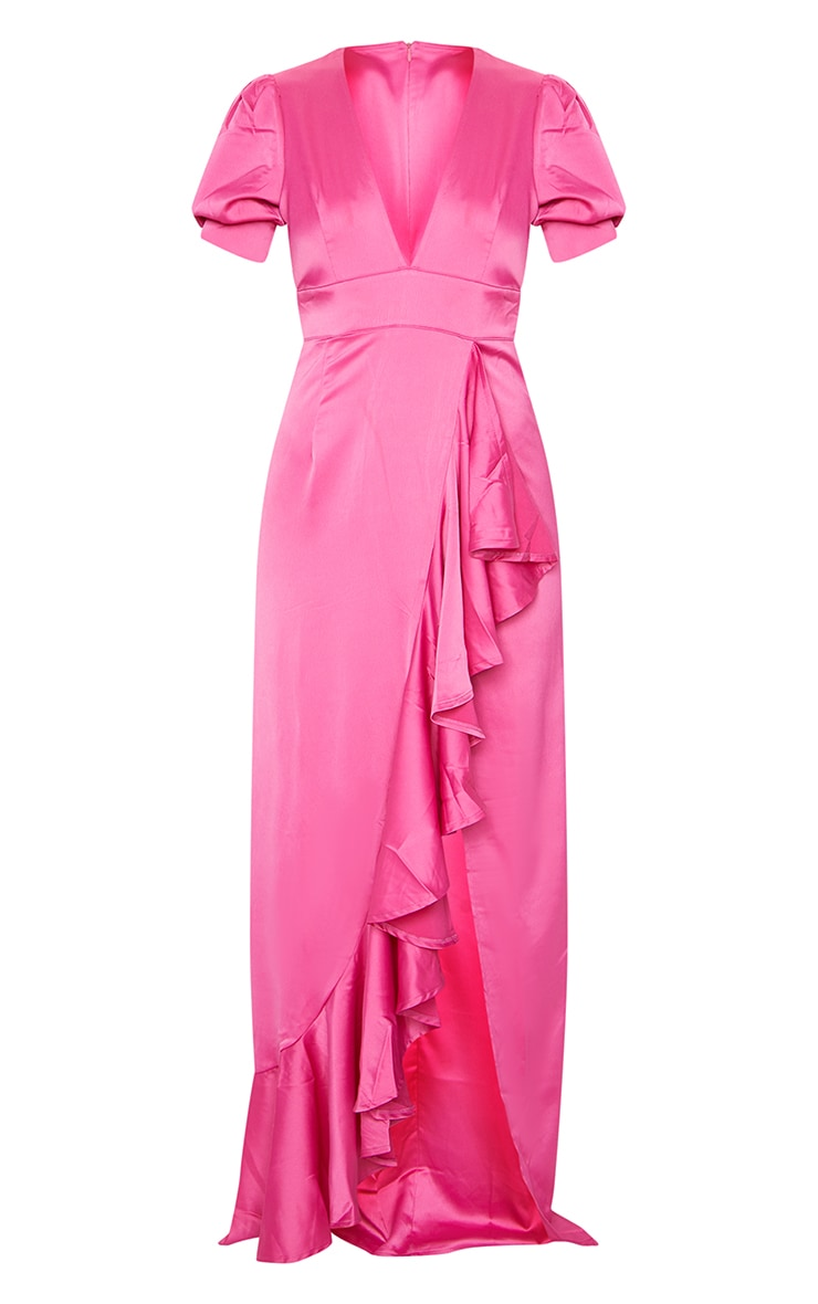 Fuchsia Satin Short Sleeve Frill Detail Maxi Dress 5