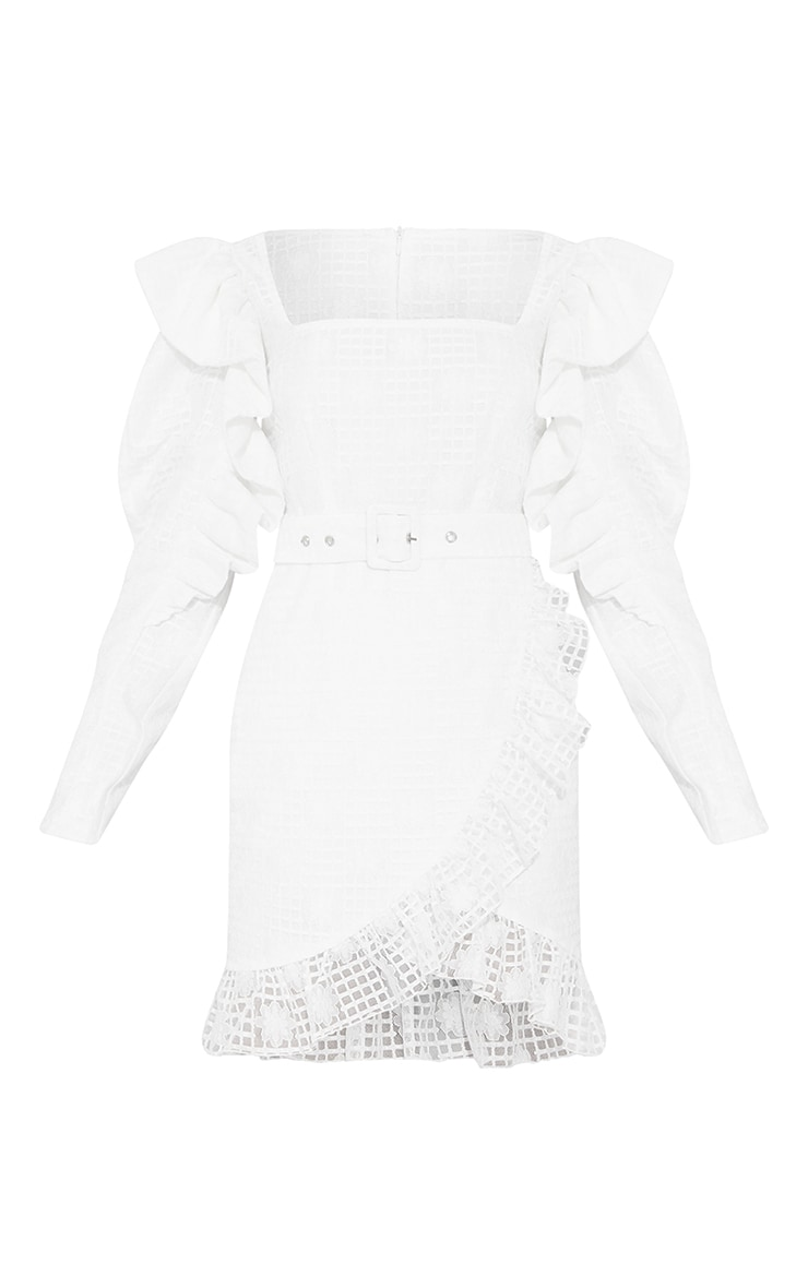 White Lace Structured Sleeve Belted Bodycon Dress 5