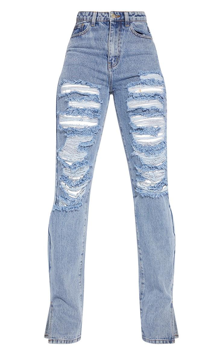 Tall Mid Blue Full Distressed Split Hem Denim Jean 5
