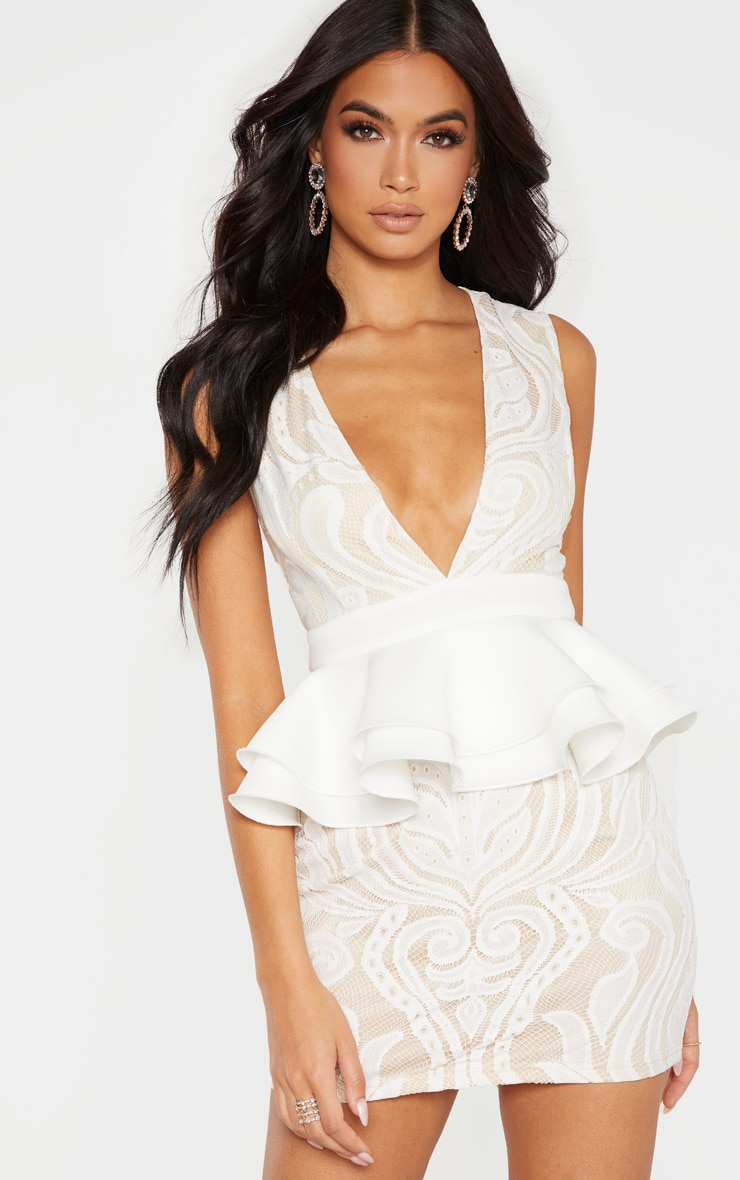 White Ruffle Detail Plunge Bodycon Dress 4