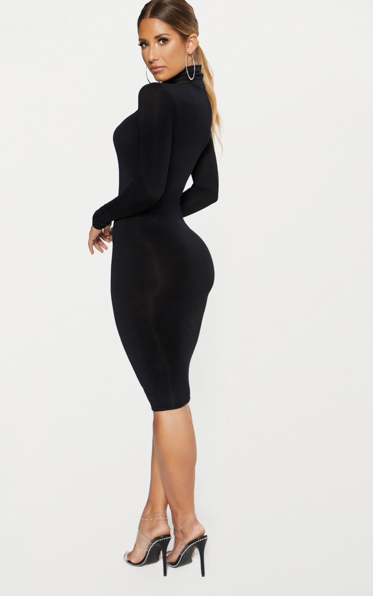 Basic Black Roll Neck Midi Dress 2