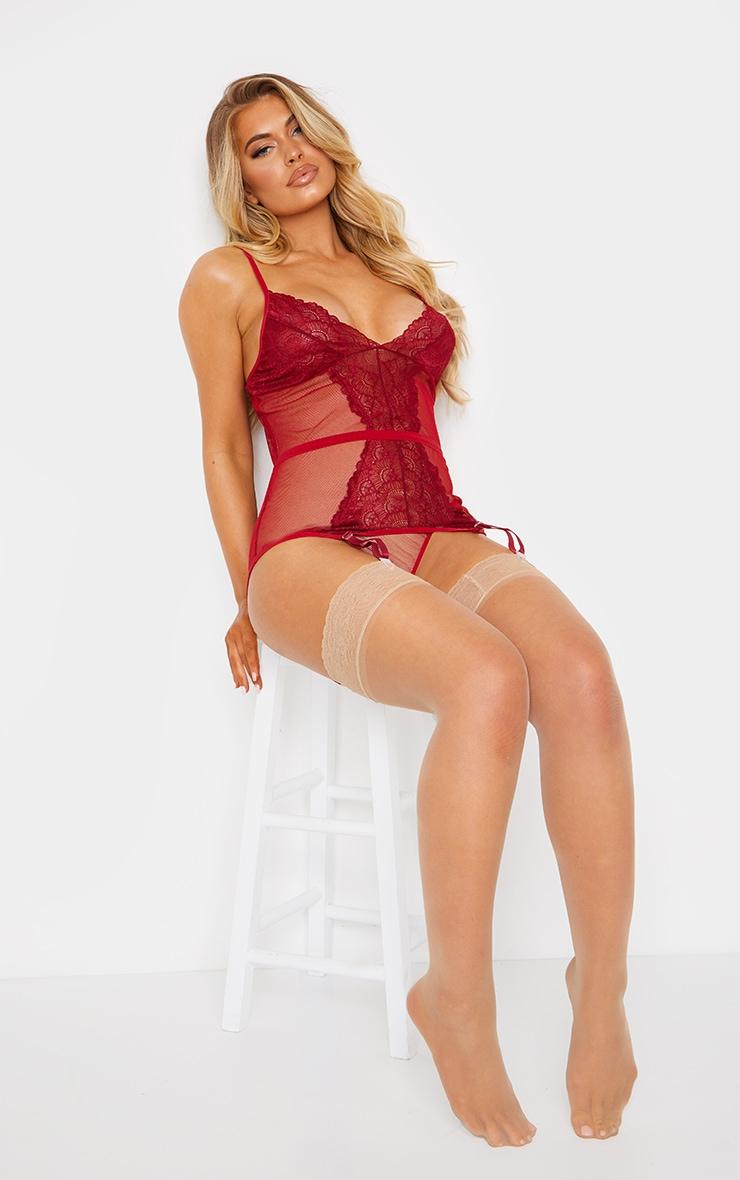 Red Fishnet Lace Suspender Body & Panties Set 6