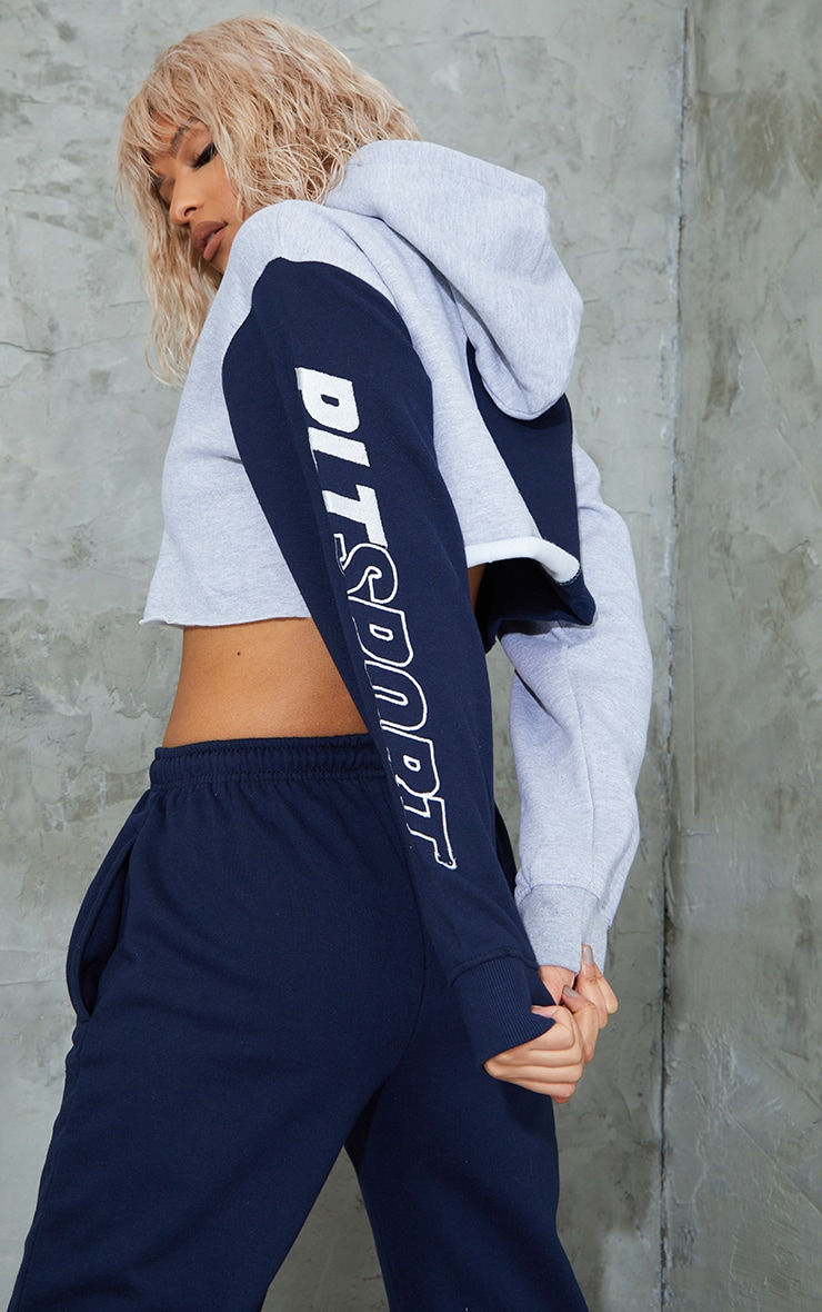 PRETTYLITTLETHING Navy Sport Colour Block Cropped Hoodie 2