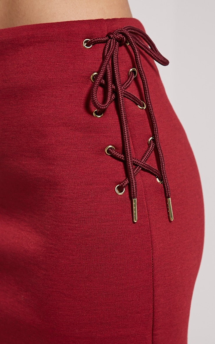 Malita Oxblood Lace Up Side Scuba Midi Skirt 5