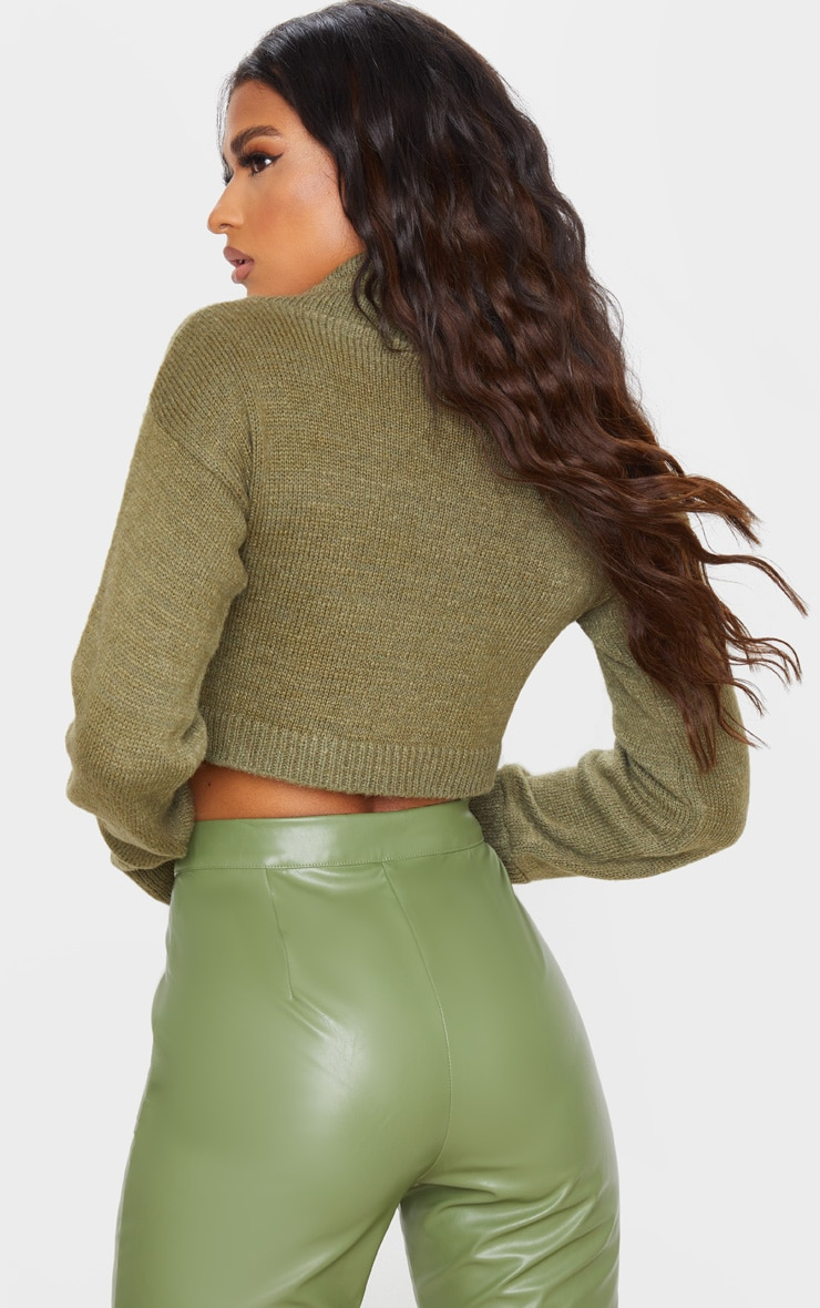 Khaki Roll Neck Cropped Sweater 2