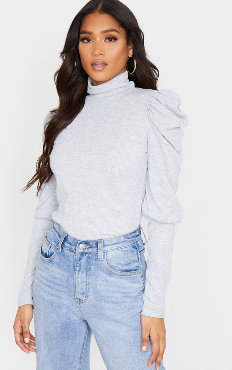 Grey Rib Puff Sleeve Long Top 1