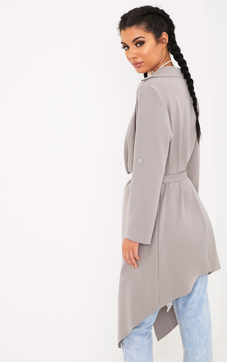 Annalie Grey Belted Waterfall Coat 2