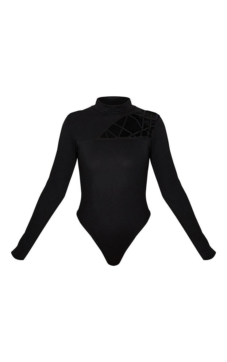 Black Cut Out Detail Crepe Bodysuit 3