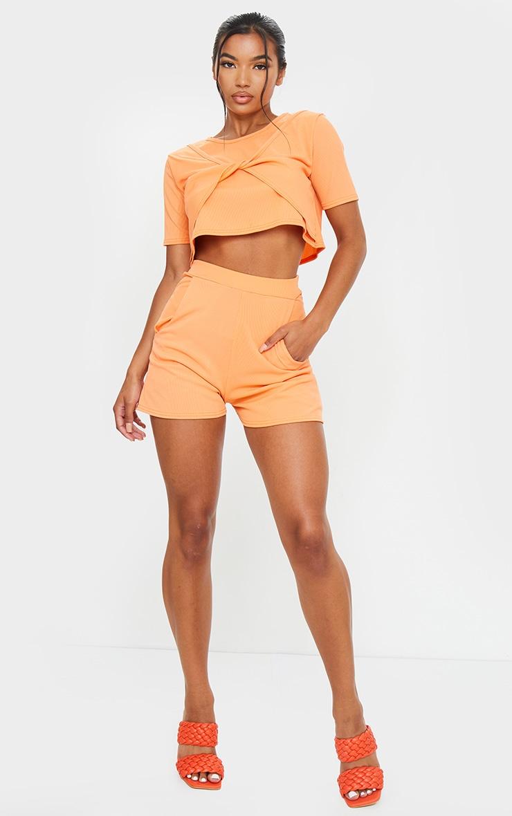 Peach Rib Pocket Floaty Shorts 4