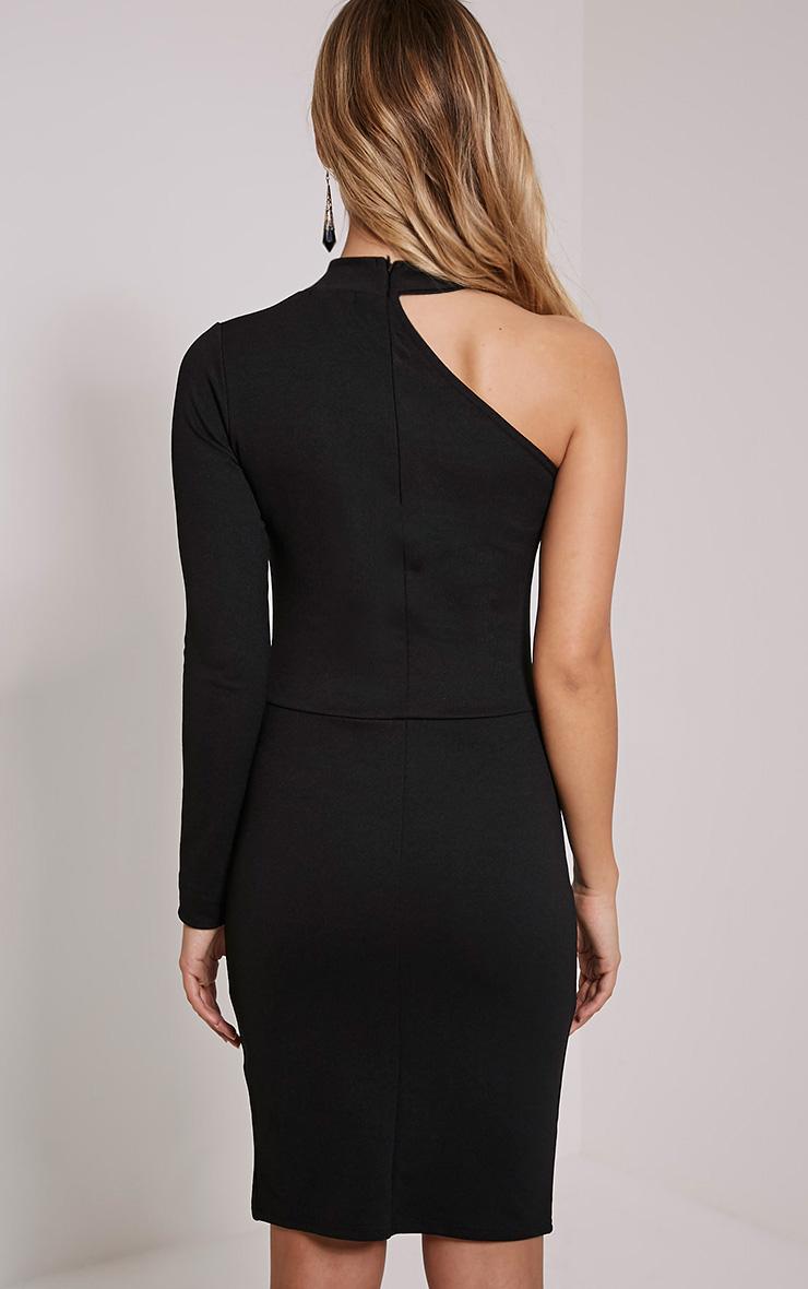 Anastasia Black Asymmetric Bodycon Dress 2
