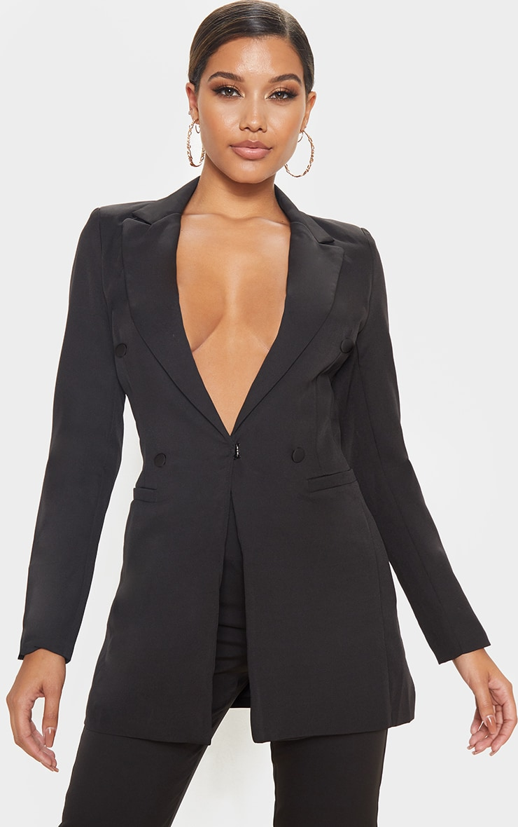 Black Double Breasted Woven Blazer 1