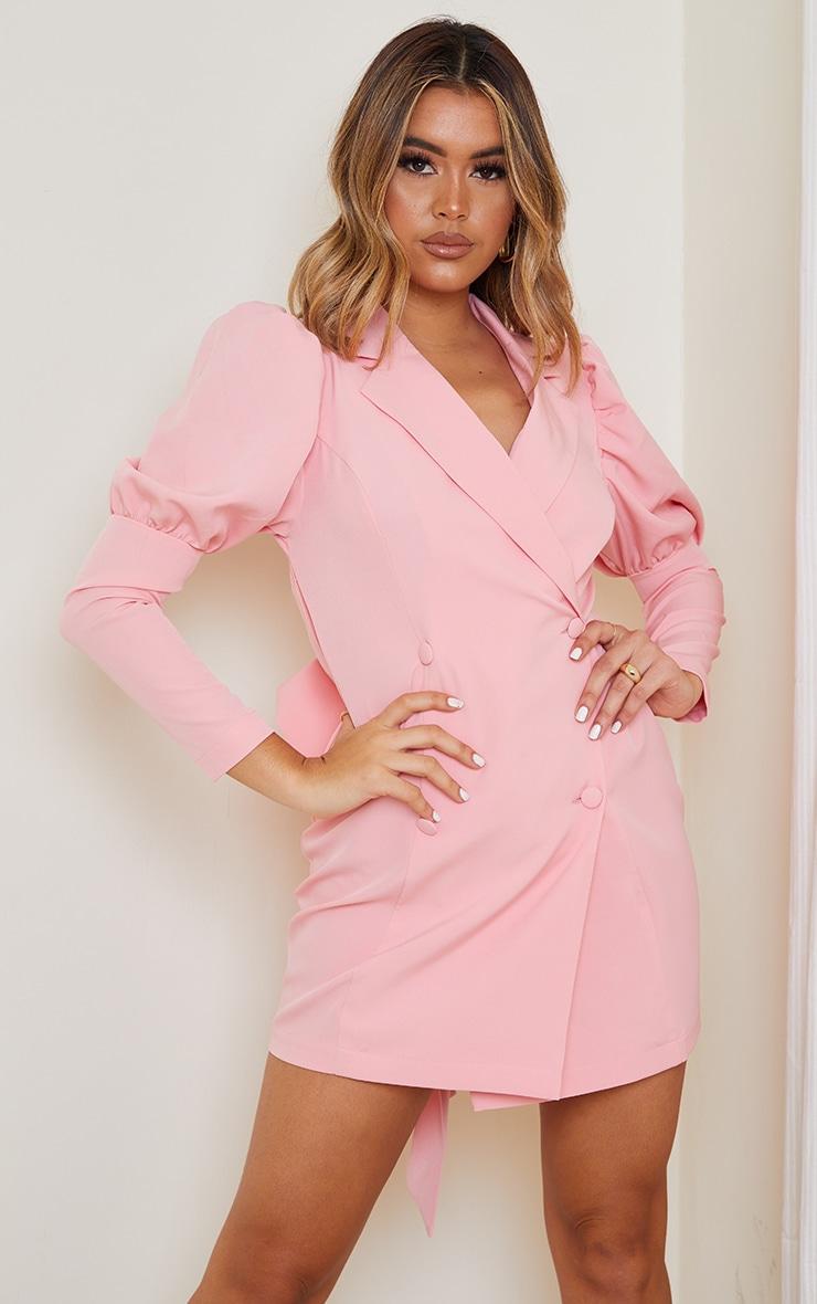 Dusty Pink Bow Detail Open Back Blazer Dress 2