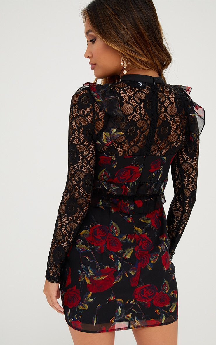 Black Lace Sleeve Floral Bodycon Dress 2