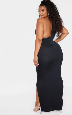 Plus Black Drape Front Maxi Dress