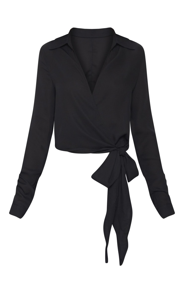 Avalyn Black Wrap Front Tie Side Blouse 3