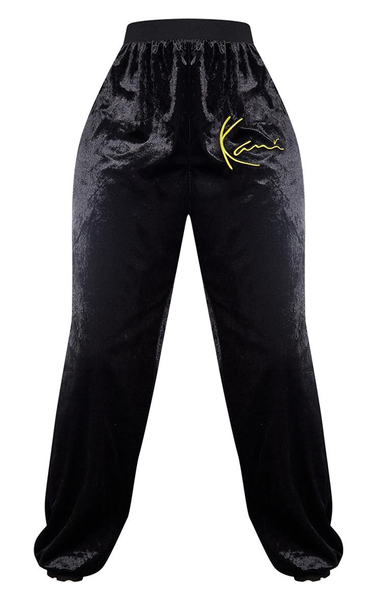 KARL KANI Black Velour Embroidered Joggers 5