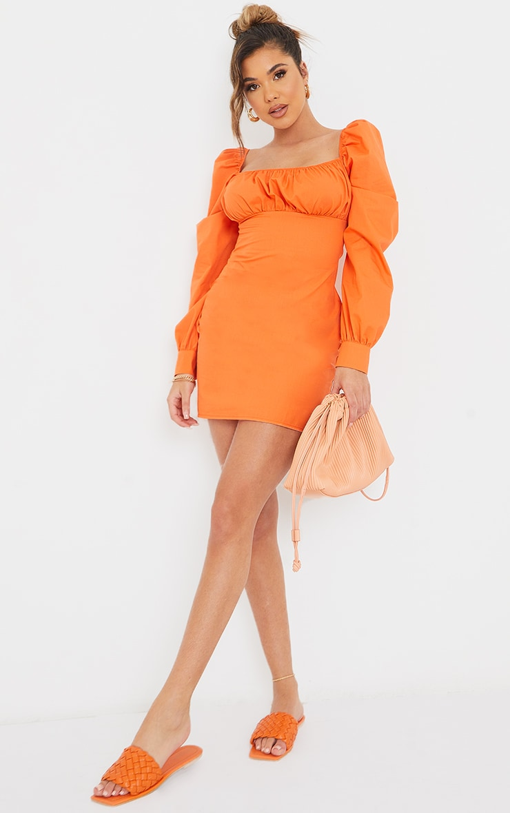 Orange Ruched Bust Square Neck Long Sleeve Shift Dress 1