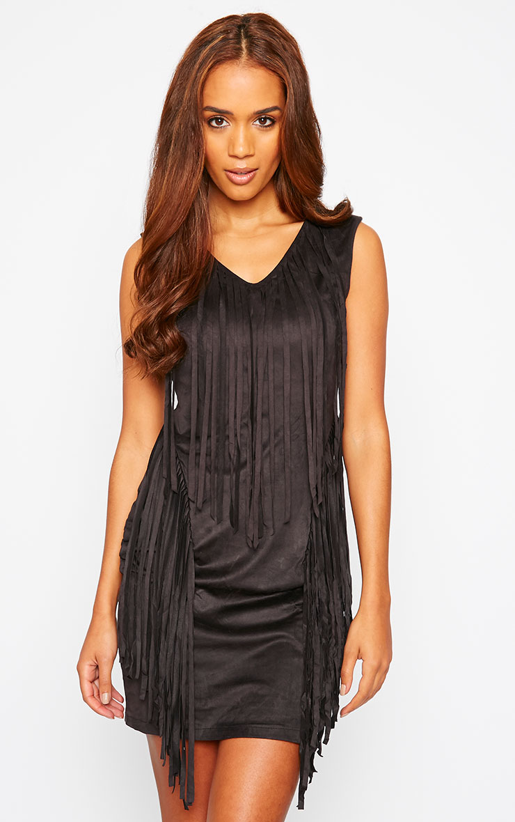Nylah Black Suedette Tassel Dress 1