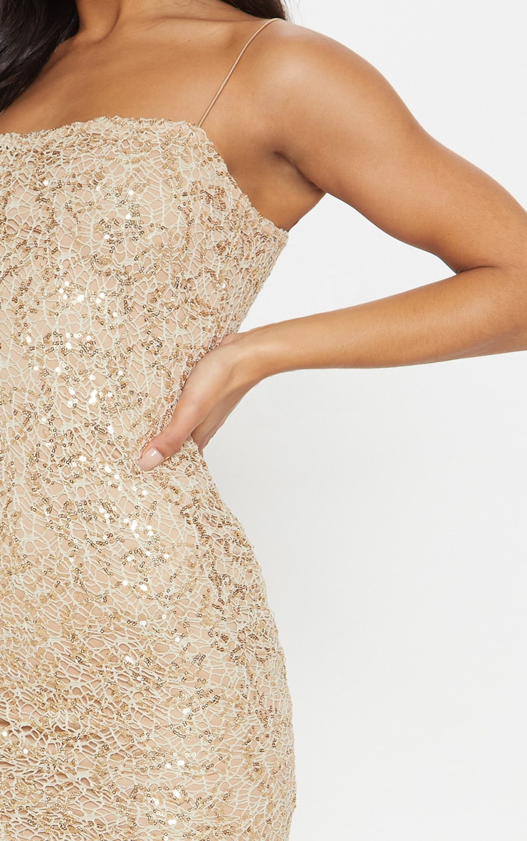 Gold Lace Sequin Square Neck Midi Dress 5
