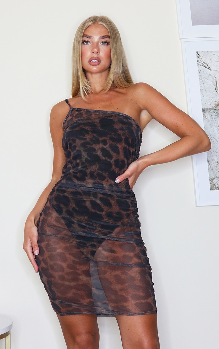 Brown Leopard Print Mesh One Shoulder Ruched Bodycon Dress 1
