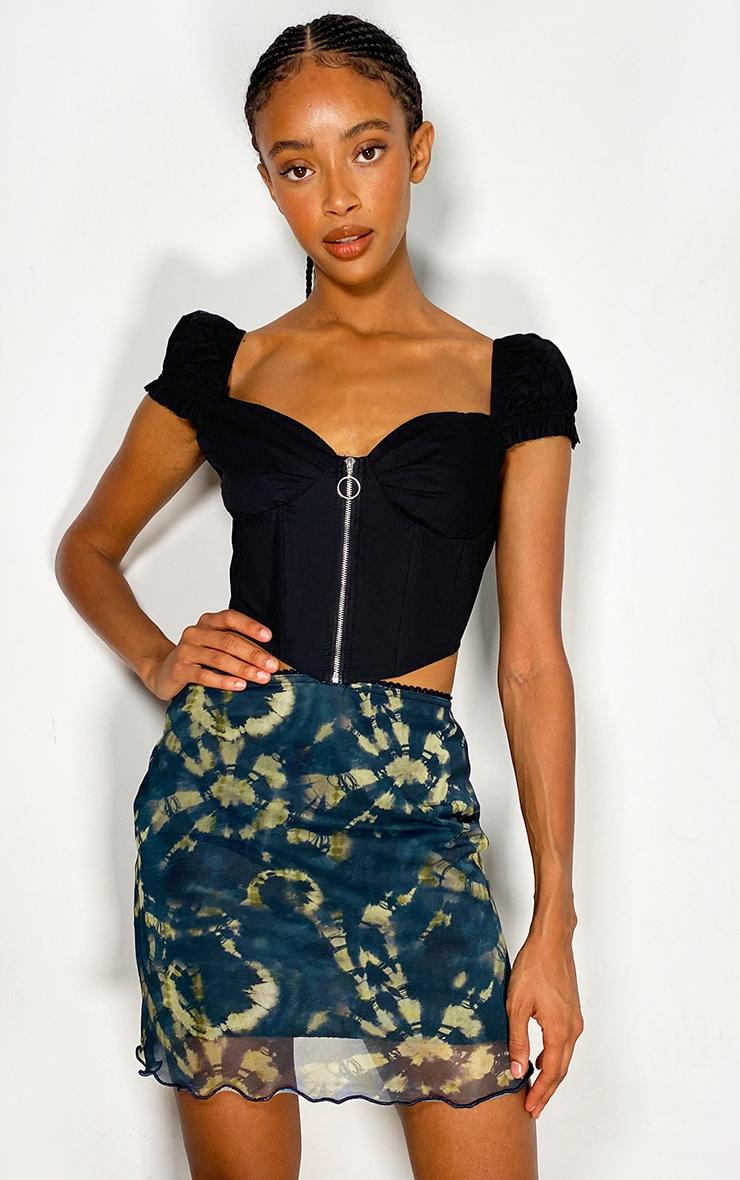 Navy Tie Dye Mesh Lettuce Hem Mini Skirt 1