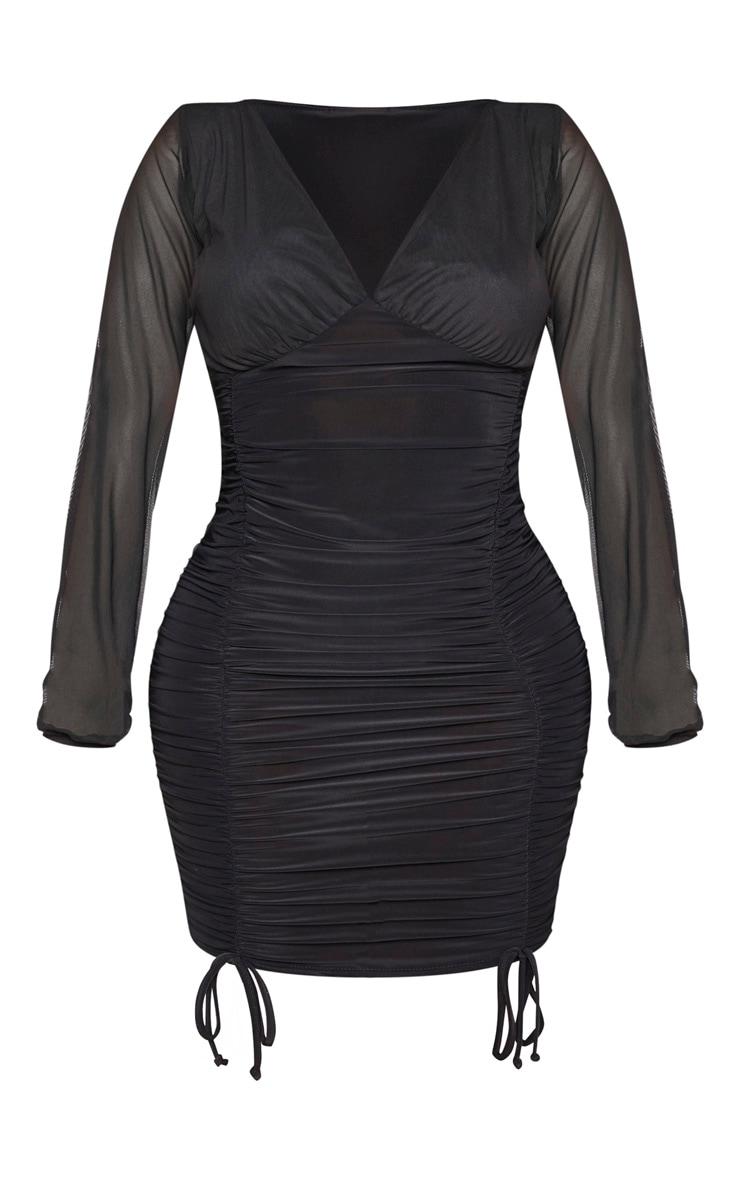 Shape - Robe moulante froncée slinky noire à manches en mesh 3