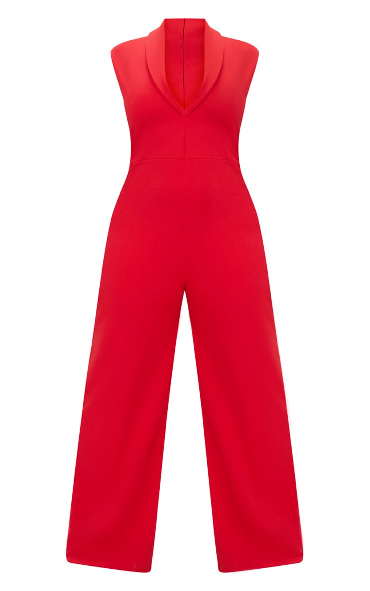 Plus Red Plunge Blazer Style Jumpsuit  3