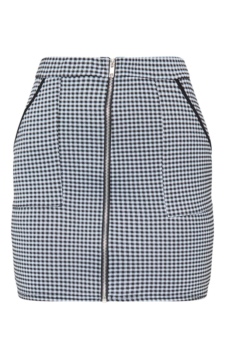 Pale Blue and White Gingham Zip Front Mini Skirt 3