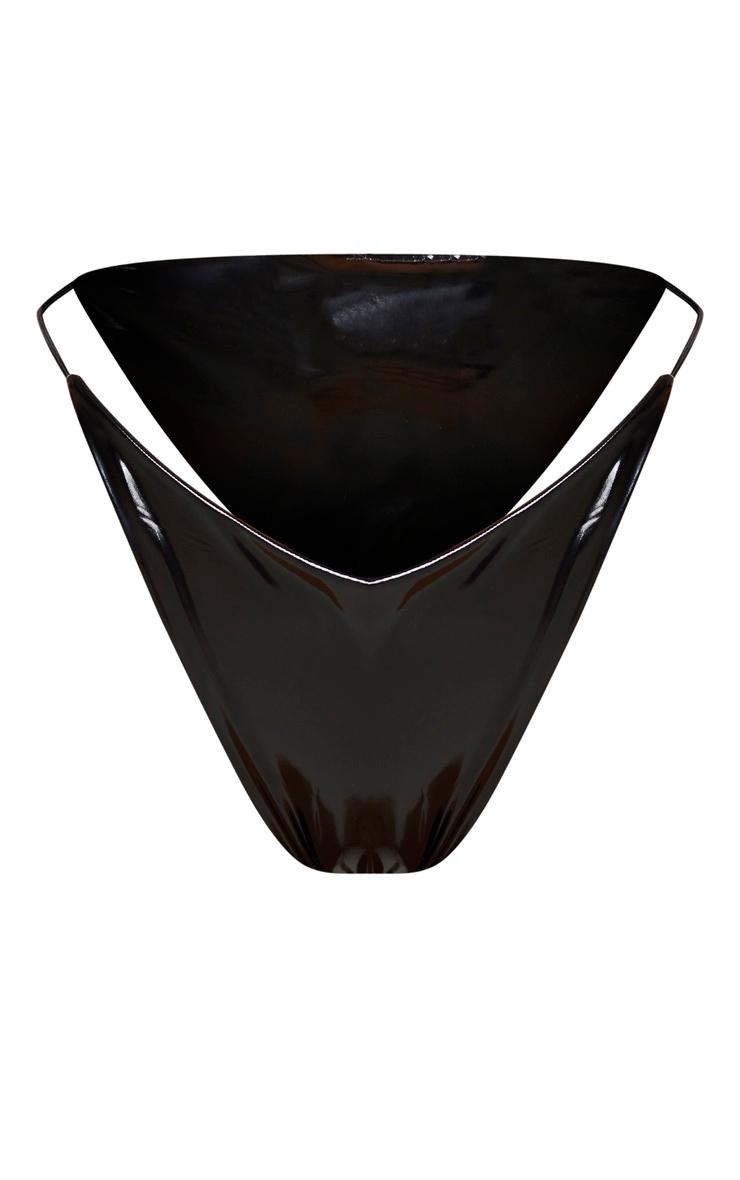 Bas de bikini en vinyle noir à lanières élastiques 7