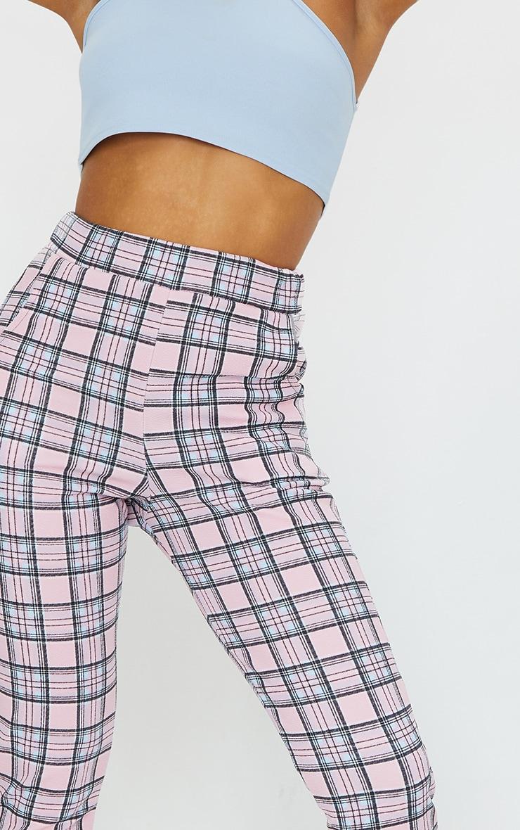Pink Check Skinny Pants 4